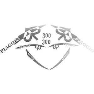 SET 8 ADESIVI ARGENTO PIAGGIO BEVERLY 300 IE '10 KIT GRAFICA CARENA DECALS 70X70