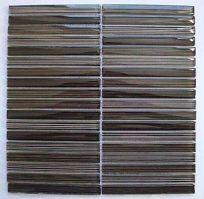 Glasmosaik Micaela braun gestreift, Steingröße 1,5 x 14,8 cm, Matte 30 x 30 cm