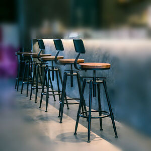Image Is Loading Retro Rustic Metal Swivel Bar Stool Cafe