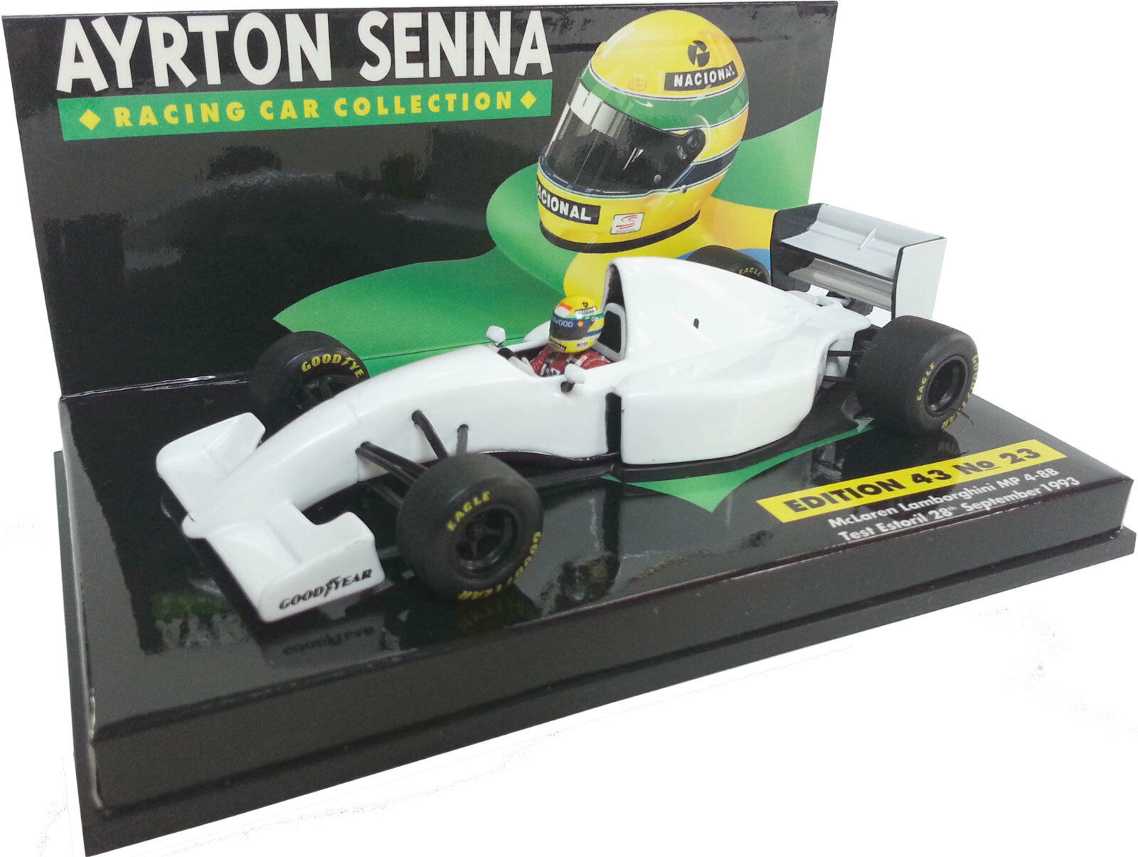 MINICHAMPS 1 43 1993 MCLAREN LAMBORGHINI MP4-8B TEST ESTORIL AYRTON SENNA
