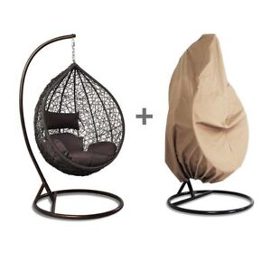 Details About Tear Drop Outdoor Hanging Hammock Wicker Swing Chair Egg  Shape W/Free Cover New
