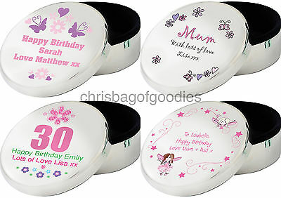 PERSONALISED Engraved ROUND TRINKET BOX Gifts for Birthday Present her women