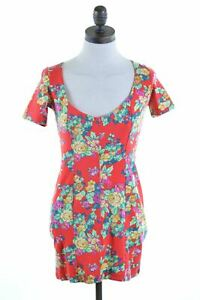 KENZO-Womens-Bodycon-Dress-Size-12-Medium-Multi-Floral-Cotton-KM42