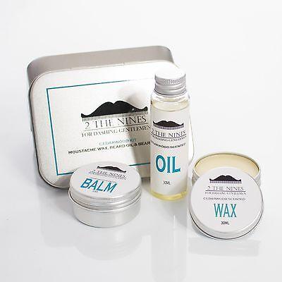 2 The Nines™ Moustache Wax, Beard Oil & Balm - Grooming Kit (Classic Cedarwood)