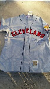 new concept 1eaf7 75bcc Details about LARRY DOBY SIGNED 1948 JERSEY CLEVELAND INDIANS MITCHELL &  NESS ROAD GREY RARE
