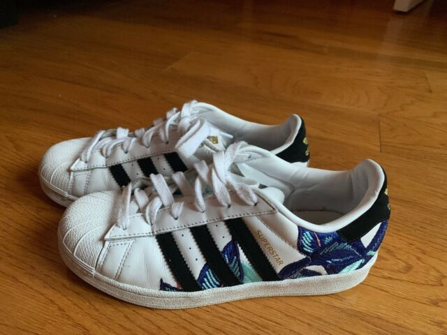 Adidas Superstar Farm Pack Womens B28014 White Black Blue Leather Shoes Size 6,5