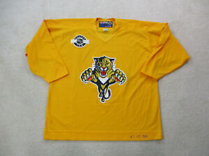 VINTAGE-CCM-Florida-Panthers-Hockey-Jersey-Adult-Extra-Large-Yellow-NHL-Mens