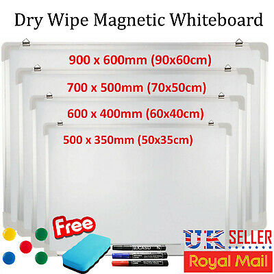 I-CHOOSE LIMITED 500 x 350mm Magnetic Whiteboard and 3 Marker Pens with 1 Eraser 5 Random Coloured Magnets
