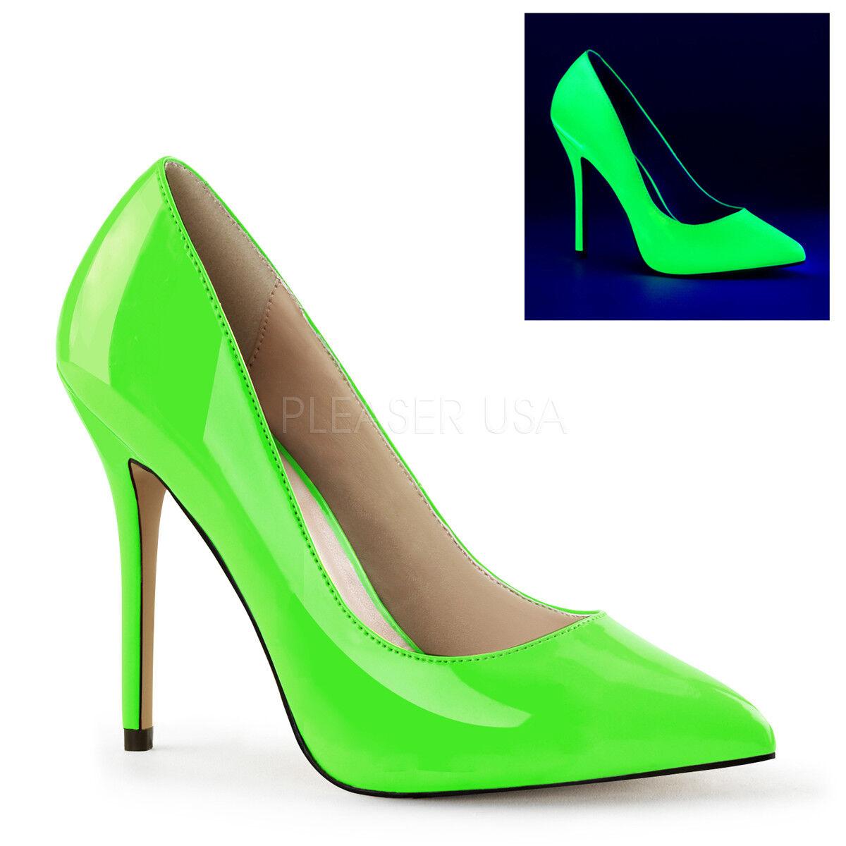 Pleaser AMUSE-20 Neon Grün Hidden Platform Pump Slip On Close Toe High Heels