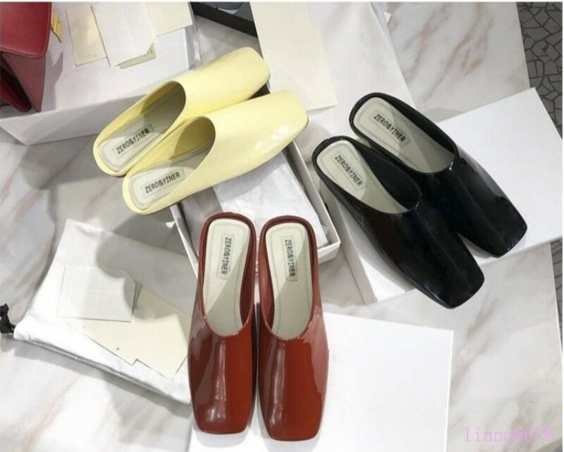 Women's Flat Flat Flat shoes Square toe Slip on Patent Leather Summer casual mules slipper 37c830