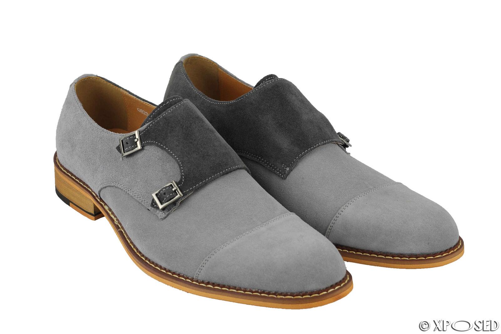 Hommes Véritable en Chaussures Cuir et Daim Vintage Double Moine Bracelet Chaussures en élégant Formel Taille UK 6eab63