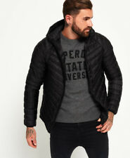 New Mens Superdry Micro Quilt Hooded Down Jacket Black