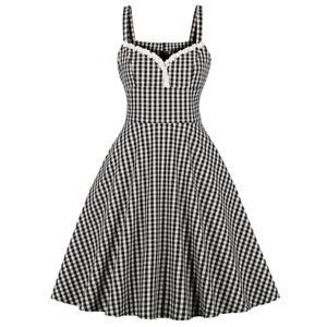 Retro-Pinup-Girl-Swing-Checks-Dress-Braces-Lace-Trim-Womens-Party-50s-Rockabilly
