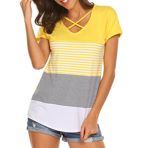 Summer Women Short Sleeve T-Shirt Tops Blouse Ladies Casual Loose Tee Pullover