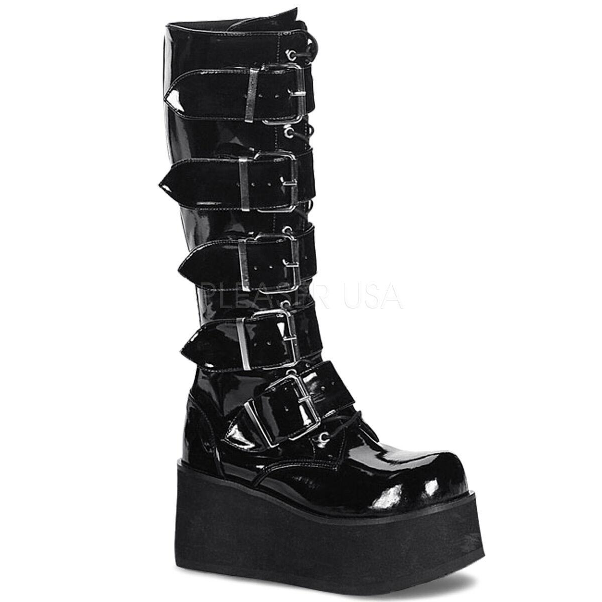 DEMONIA TRA518/B Women's Industrial Goth Punk Platform Buckle Strap Knee Boots