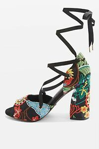 Image is loading Topshop-RHAPSODY-Lace-Up-Flower-Embroidered-Heeled-Sandals- ed83fef6a09