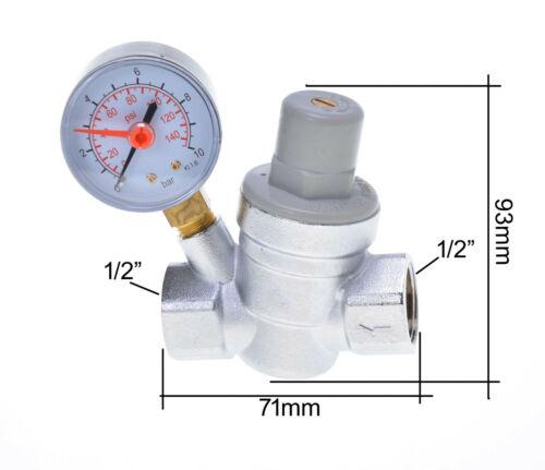 "DN15 Druckminderer mit Manometer 1,5-6,5 bar 1//2/"" Neu"