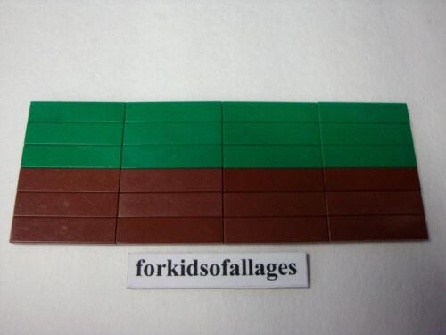 24 Lego 1x4 FINISHING TILES PLATES Smooth Flat Green /& Rd-Brown Floor Grass Dirt