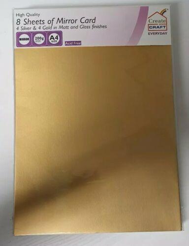 2 paquetes de crear y Craft 16 Hojas De Espejo Tarjeta de Plata y Oro Acabado Brillante
