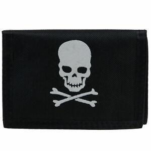 Boys-Teens-Wallet-Coin-Purse-Canvas-Black-Skull-Crossbones-Pirate-Jolly-Roger