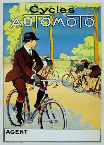 AUTOMOTO CYCLES 1920/'s France 250gsm A3 Art Deco Cycling Poster