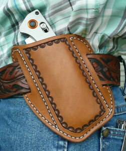 X-Large-Leather-Cross-Draw-Pocket-Knife-Sheath-Spyderco-Benchmade-Ruff-s-Brown