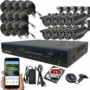 Sikker-16-Ch-Channel-AHD-DVR-10-pcs-1080P-2-Megapixel-Camera-Security-System-4TB