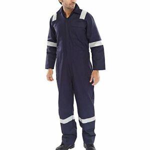 Para-HOMBRE-TRAJE-CALDERA-AZUL-mecanico-Coverall-seguridad-protectora-Reflectante-Workwear
