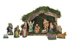 Weihnachtskrippe aus Holz Krippe mit 11 Porzellanfiguren Figuren Weihnachtsdeko