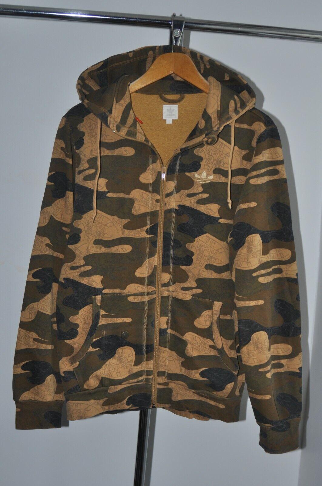 2007 adidas mens camouflage camo hoodie hood full zip size S