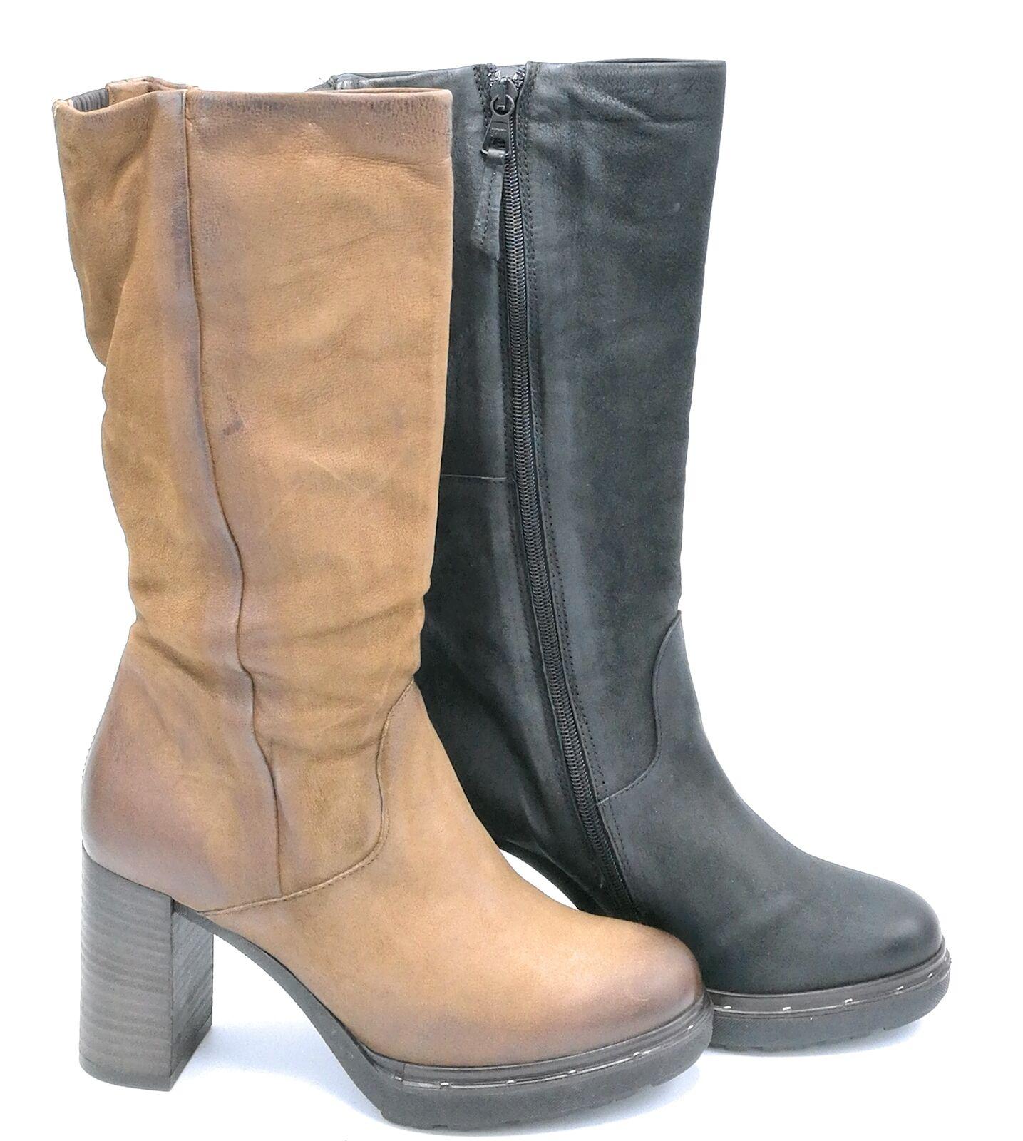 la migliore offerta del negozio online Mjus 299320 stivale pelle cogna     nero tacco 9 cm  offerta speciale