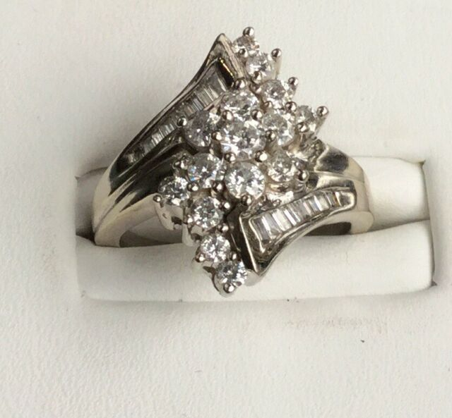 1ct Tw Diamond 14K White Gold Cluster Cocktail Ring Estate