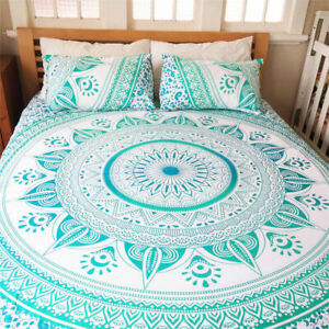 Indian Green Ombre Mandala Queen Size With Pillows Bedding Set Bed Sheet Cover