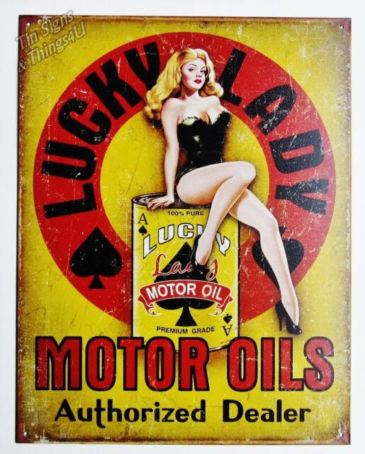 Lucky Lady Motor Oils TIN SIGN vtg pinup metal bar garage gas station decor 1998