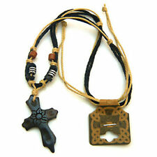 Tibetan yak bone cross pendant hemp rope necklace