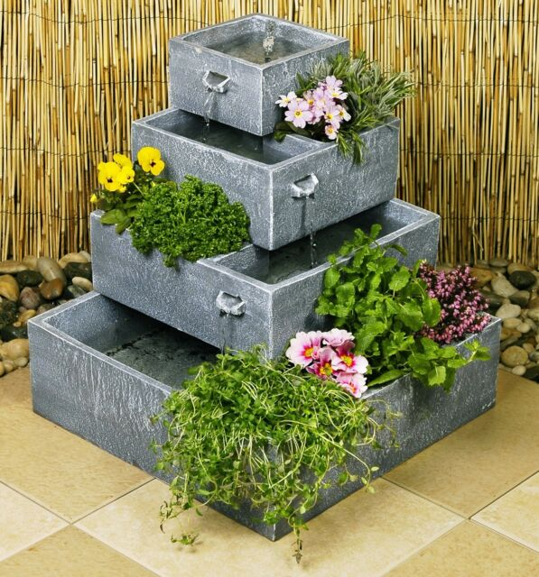Perth 4 Tier Cascade Solar Water Fountain Planter Yard Feature Garden  Decoration