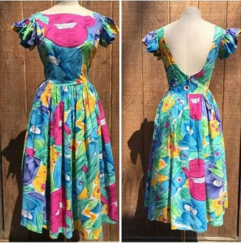 1980s Phool Floral Party Dress l 80s Summer Cotton