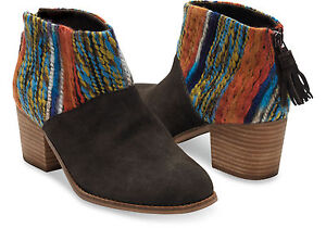 Image is loading TOMS-LEILA-BOOTIES-CHOCOLATE-SUEDE-MULTI-TEXTILE-SIZE-