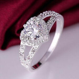 Women Romantic Silver Crystal Love Heart Shaped Ring Wedding Jewelry Size 6-9