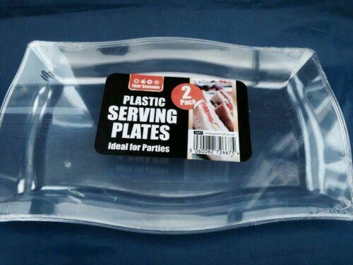 6 X Plastique Transparent servant des plats//Poids lourd//Fête//Mariage//événement