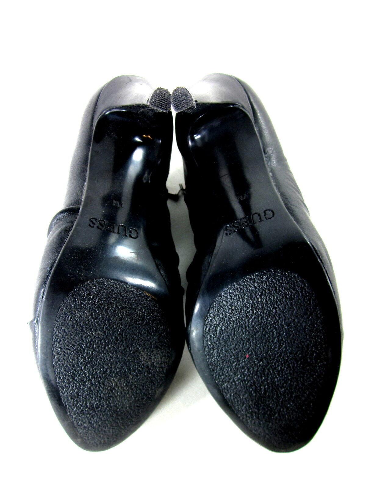 GUESS WOMEN'S US DOTTEST FASHION COMFORT BOOTIE BLACK HEEL LEATHER US WOMEN'S SIZE 7 MEDIUM 5fb1e9