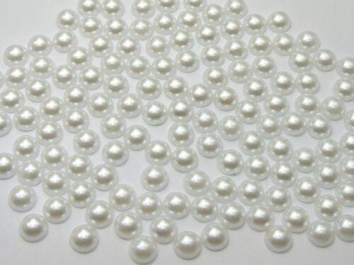 1000 Blanc Pur Half Pearl Bead 6 mm Dos Plat Scrapbook Craft