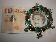 Women's Green Gemstone Tibetan Silver Elastic Charm Bead Bracelet Birthday Gift