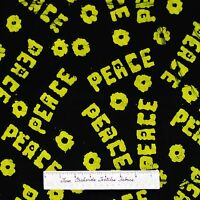 Green & Black Batik Fabric - Peace Word Flower - Marcus Brothers Cotton 28