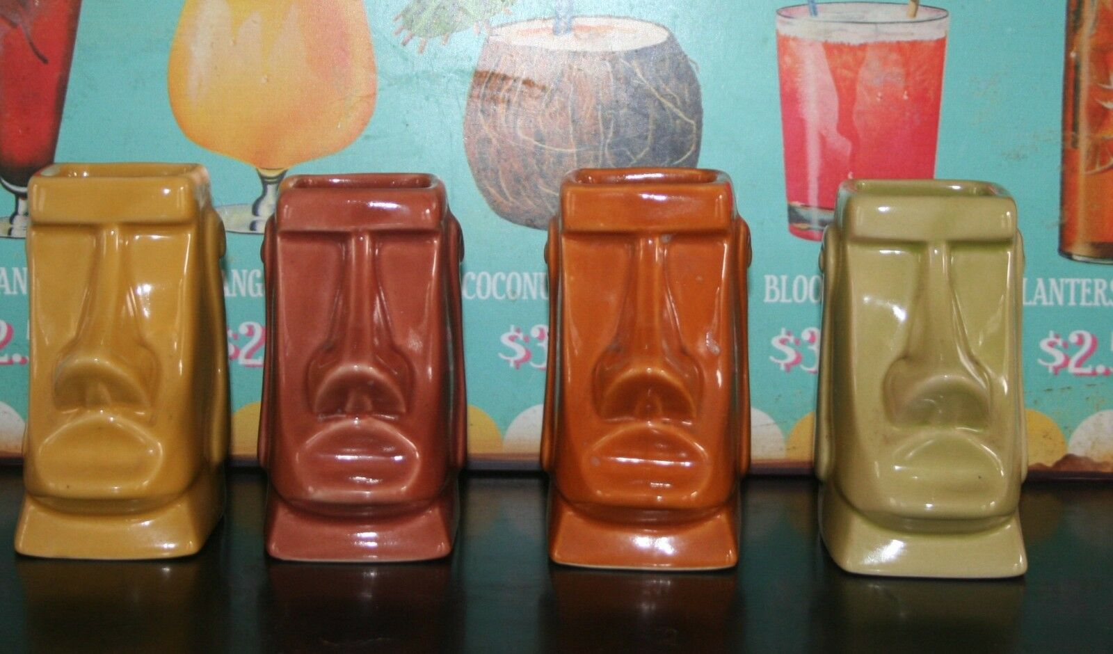 Tiki mug Moaï par Derek originaux 2006   Tikifarm usa rare collection lot de 4