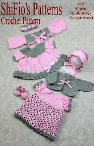 CROCHET-PATTERN-2-BABY-DRESSES-HEADBAND-BOLERO-CARDI-SHOES-25-NOT-CLOTHES