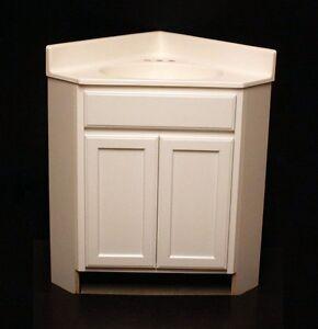 Kraftmad angled corner bathroom dove white maple vanity for Kitchen cabinets 24x24
