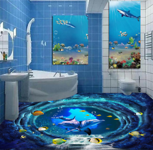 3D Dolphins Cave 52 Floor WallPaper Murals Wall Print 5D AJ WALLPAPER UK Lemon