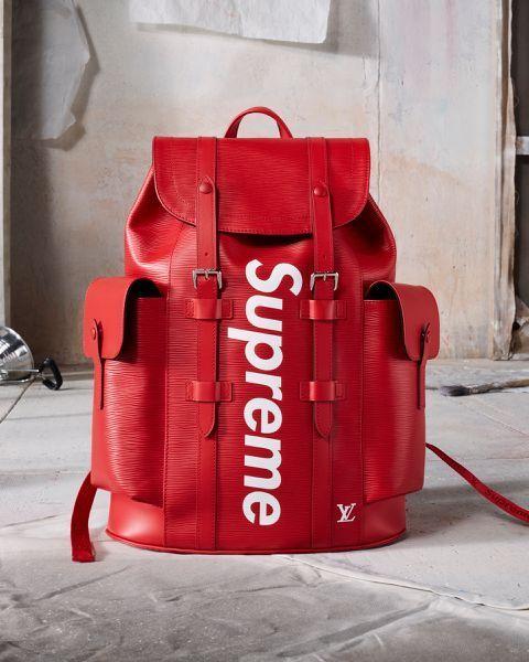 Louis Vuitton Supreme Christopher Back Pack X Ruck Saco Epi Bolso De Cuero