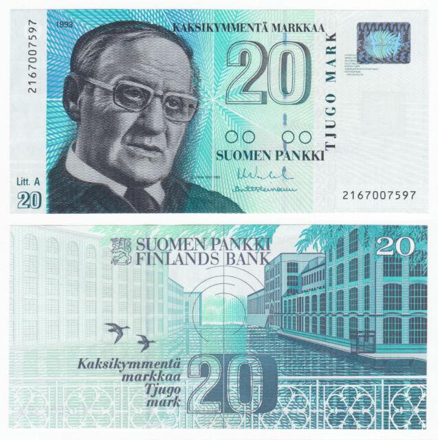 FINLAND 20 Markkaa Litt A 1993 (1997) P-123 UNC Uncirculated